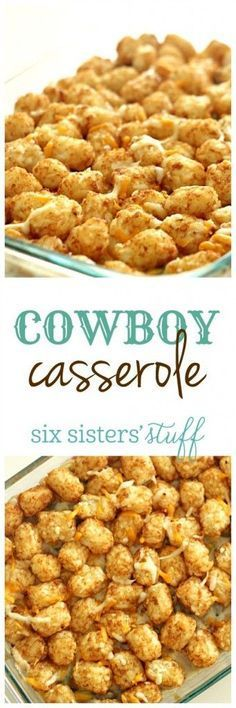 "I had never had ""Cowboy Casserole"" (aka Tater Tot Casserole) until after I met my husband. Whenever he is in charge of the meal, this is his go-to dish.  He asked why I hadn't put it on the blog yet,"