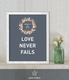 "♥ 10% OFF with coupon code ""PIN10"" ▷ Love Never Fails // Wedding Ceremony Sign // by JadeForestDesign"