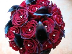 Red and black wedding bouquet.