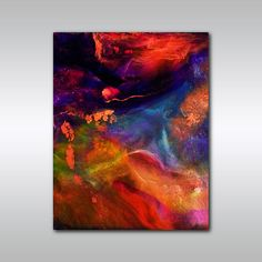 Multi Colored Abstract Print - 8 x 10 Reproduction Artwork - Canadian - Jewel Tone Abstract Wall Art - Home Decor on Etsy, $14.11