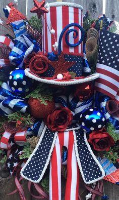Patriotic Wreath 4th Of July Wreath Uncle Sam Wreath