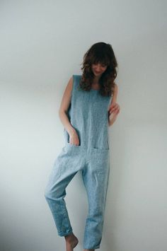 Light Blue Linen Jumpsuit Seaside Blue Jumpsuit Linen by OffOn