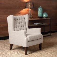 Maxwell Natural Wing Chair - Overstock Shopping - Great Deals on Living Room Chairs