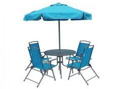Conjunto para Jardim 4 Cadeiras - 1 Mesa 1 Ombrellone - Bel Fix Miami