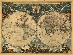Tableau Decoratif - Carte Ancienne - Nova et Accuratissima Totius Terrarum Orbis Tabula, 1662.