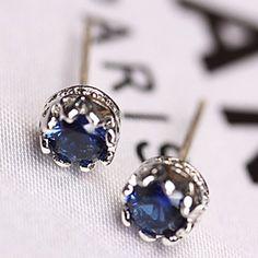 Pair of Chic Faux Sapphire Crown Women's Earrings Earrings | RoseGal.com Mobile