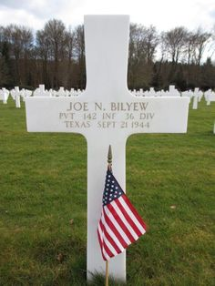 Private Joe N. Bilyew U.S. Army 142nd Infantry Regiment, 36th Infantry Division Entered the Service From: Texas Service #: 20806663 Date of Death: September 21, 1944 World War II Buried: Plot B Row 23 Grave 36 Epinal American Cemetery Dinozé, France