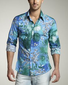 Tropical-Print Sport Shirt by Versace Collection at Neiman Marcus.