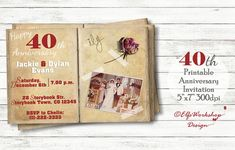 40th Anniversary romantic invitation by ElfsWorkshopDesign on Etsy