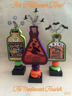I had so much fun finishing these stand-up bottles, from their swirly spiderweb, witch hat and bat embellished tops to the last details on the stands! ~ Canvas designs by Kirk&Bradley Cross Stitch Tree, Cross Stitch Books, Simple Cross Stitch, Cross Stitch Patterns, Halloween Tree Decorations, Halloween Cards, Halloween 2, Halloween Sayings, Halloween Embroidery