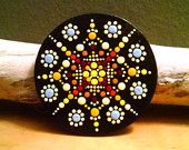 Mandala Dot art ~Hand Painted Wood Magnet ~Miranda Pitrone ~Gift Idea~ Pointillism