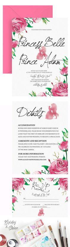 Beauty and beast watercolor rose wedding invitation- disney bridal stationery Disney Wedding Invitations, Watercolor Wedding Invitations, Wedding Invitation Suite, Watercolor Rose, Watercolor Artwork, Rose Wedding, Beast, Stationery, Bridal
