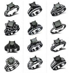 Diamond Rings : List of pretty & affordable black diamond engagement rings www. - Buy Me Diamond Black Wedding Rings, Black Rings, Gold Wedding, Wedding List, Sapphire Wedding, Wedding Cake, Wedding Ideas, Bling Bling, Diamond Rings