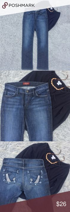 """""""The Tom"""" by James Jeans Fabulous pair of James Jeans with a lower rise and straight leg opening.  Slightly darker blue wash with whiskering and fading on the front thighs and seat.  Denim made of 98% cotton / 2% lycra.  Excellent condition - very minimal wear on bottom hems.  Size 27 - see picture for exact measurements. James Jeans Jeans Straight Leg"""