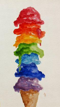 Cosas Alegres Watercolor Rainbow Ice Cream Cone