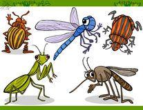 Les insectes heureux ont placé l'illustration de bande dessinée Photo libre de droits