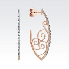 Round Diamond Vintage Profile 14k Rose Gold Hoop Earrings