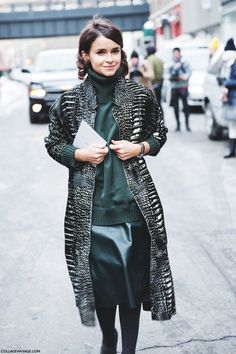 New_York_Fashion_Week-Street_Style-Fall_Winter-2015-Miroslava_Duma-Leather-Green-Reed_Krakof-1