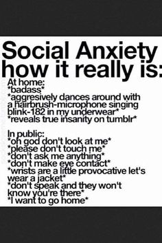 Uuh I think I might have social anxiety? I feel stupid saying this but I've never actually read the symptoms of social anxiety. and now that I did I realize these fit me rly well Inspirer Les Gens, All Meme, Dissociation, My Demons, Describe Me, How I Feel, True Quotes, Depressing Quotes, Movie Quotes