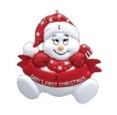 Little Red Snowman Personalized Ornament Baby's 1st Christmas Ornament, Babys 1st Christmas, Baby Ornaments, Christmas Tree Decorations, Xmas, Holiday Decor, Personalized Ornaments, Personalized Baby, Red Words