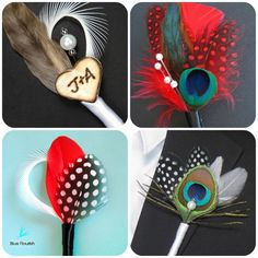 Feather Boutonnieres--bottom left is really cool; you could add a yellow craspedia--nice thing about a feather boutonnière is that it won't wilt or crush like a flower