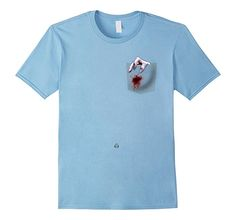 Men's Halloween Creepy Pocket With Blood Stain T-Shirt 2XL Baby Blue