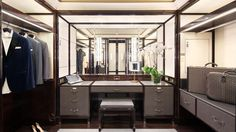 Grand Premier dressing room. The Peninsula Hotel Paris. #closets #hotels #luxury #masculine