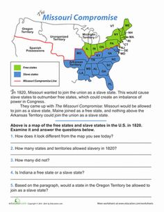Middle School History Geography Worksheets: The Missouri Compromise