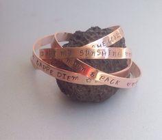 A personal favorite from my Etsy shop https://www.etsy.com/listing/202390179/copper-bracelet-handstamped-custom