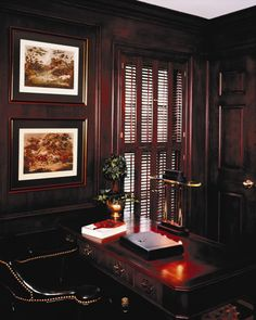 in Louver Traditional Shutters - Stained - BiFold Panels - Double Hung. Traditional Shutters, Home Office, New Homes, Interior, House, Home, Office Home, Design Interiors, Home Offices