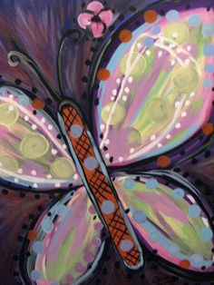 Butterfly Painting 18 X 24 by ScarletttButterfly on Etsy, $40.00