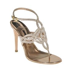 A stunning rose gold mirror metallic leather sandal embellished with intricate hand woven Swarovski 'Silk' diamante with ankle strap detailing available on a 100mm stiletto heel.