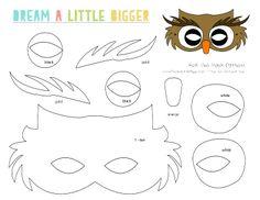 Felt Owl Mask Free Pattern - Dream a Little Bigger Raccoon Mask, Owl Mask, Felt Owls, Felt Animals, Theme Carnaval, Owl Templates, Applique Templates, Applique Patterns, Animal Mask Templates