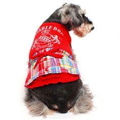 Vestido com Saia Xadrez Vermelho Gutti Pet - MeuAmigoPet.com.br #petshop #cachorro #cão #meuamigopet