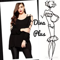 Sneak Preview...Diva Plus Sexy Black Top Cute Sexy Diva Plus Black Top. Top has open shoulders & partial arms. Top has long sleeves, rounded neck & comes past hips. Plus sizes -XL, XXL, & XXXL. Cosb Tops