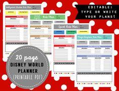 Editable Disney World Planner