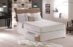 Sealy Posturepedic Silver Collection Memory Support 4ft6 Double Divan Bed