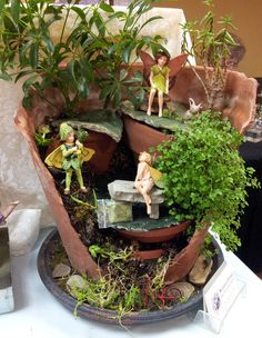 Broken Pot Turned Into A Fairy Garden   By Jean Of The Nashville Miniature  Cottage I