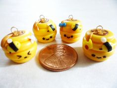 Polymer Clay Beehive Charms 2pc Set by natsDreamlings on Etsy, $3.00