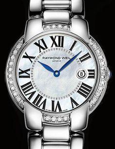 The new Jasmine with diamond bezel from Raymond Weil!  Classic, yet funky. Sleek, yet chunky!