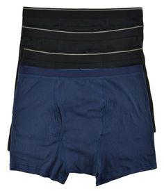 Kirkland Signature Men 4 Pack Cotton Underwear Boxer Briefs Black Blue Sz Large #KirklandSignature #BoxerBrief