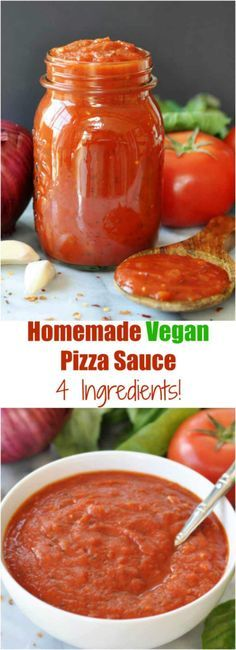 4 Ingredient Homemade Vegan Pizza Sauce! So simple to make and so delicious to eat. A family favorite recipe. www.veganosity.com