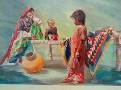 A painting in which a patchwork ralli quilt is also shown.  Artist: Muhammad Rafiq Soomro!