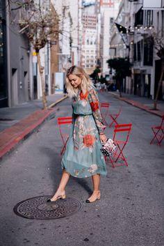 Floral printed dress and Chanel slingbacks