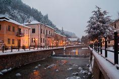 Florina, evening lights. Macedonia, Greece