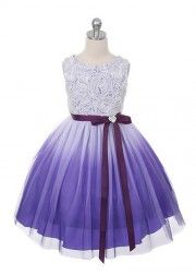Purple Rosette Bodice Ombre Girl Dress