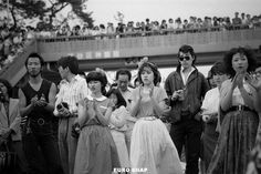 Spectators at outdoor show. Showa Period, Showa Era, Vintage Photography, Street Photography, Japanese Castle, Japan Today, Tokyo Japan, Vintage Japanese, Historical Photos