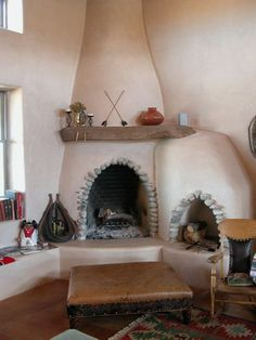 High Feather Ranch Bed & Breakfast New Mexico Brick Fireplace Makeover, Fireplace Remodel, Fireplace Mantle, Fireplace Gallery, Sustainable Building Design, Santa Fe Home, Adobe House, Southwestern Decorating, Hacienda Style