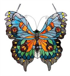 Tiffany-Style-Large-Butterfly-Design-Stained-Cut-Glass-Window-Panel-Suncatcher