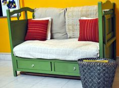 crib up cycle | Yay! that's our upcycled crib converted to sofa!